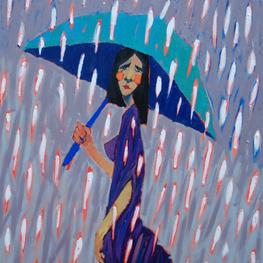 Dziewczyna z turkusowym parasolem