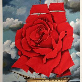 Statek Czerwona Róża - litografia