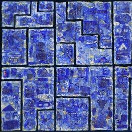 Obraz niebiesko-biały