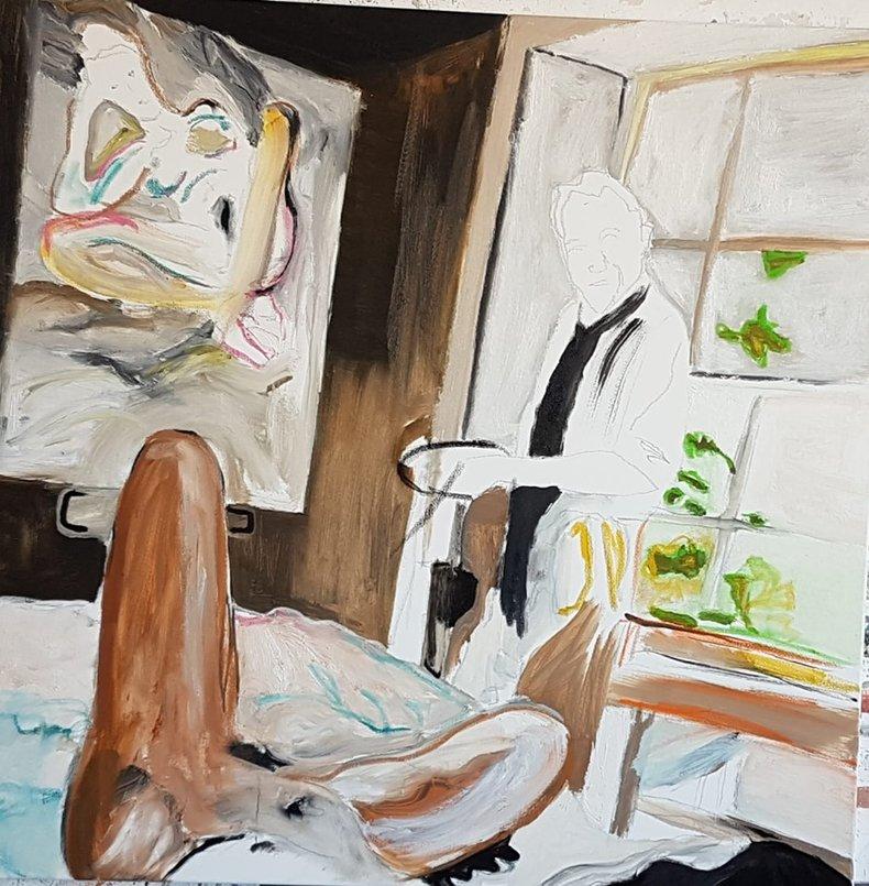 Lucian Freud i jego muza w atelier