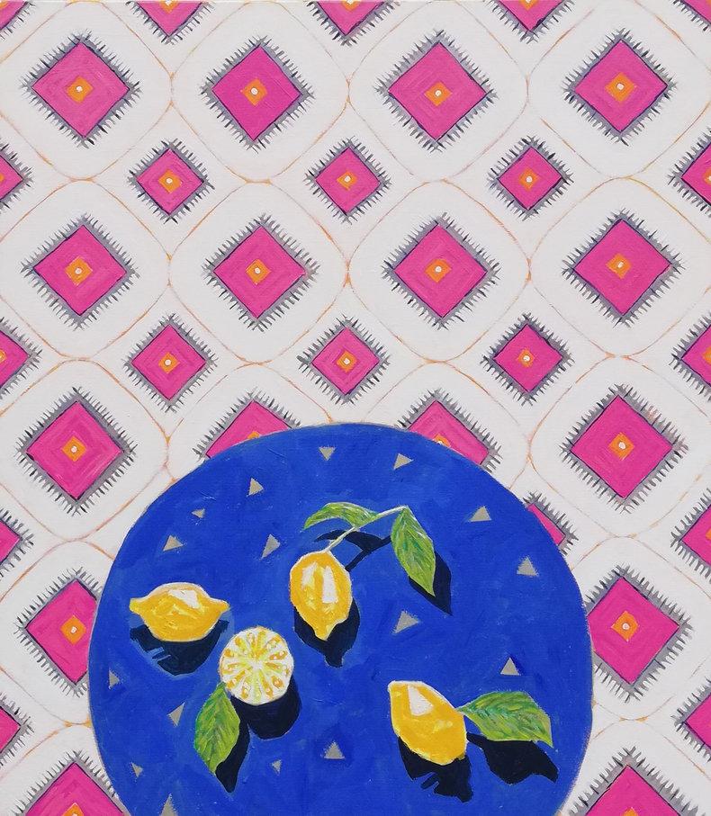 Cytryny na niebieskim stole