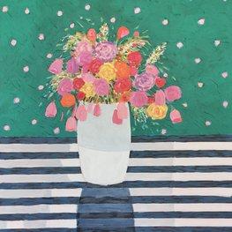 Bukiet kwiatów na zielonym tle