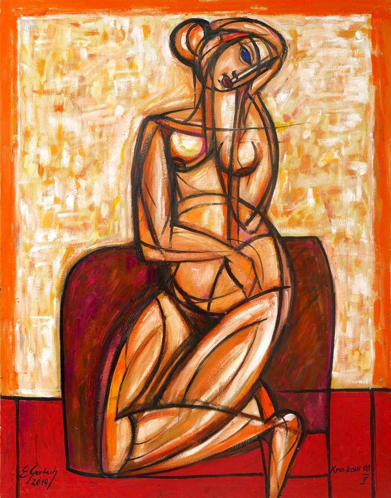 Siedząca na dywaniku - akt