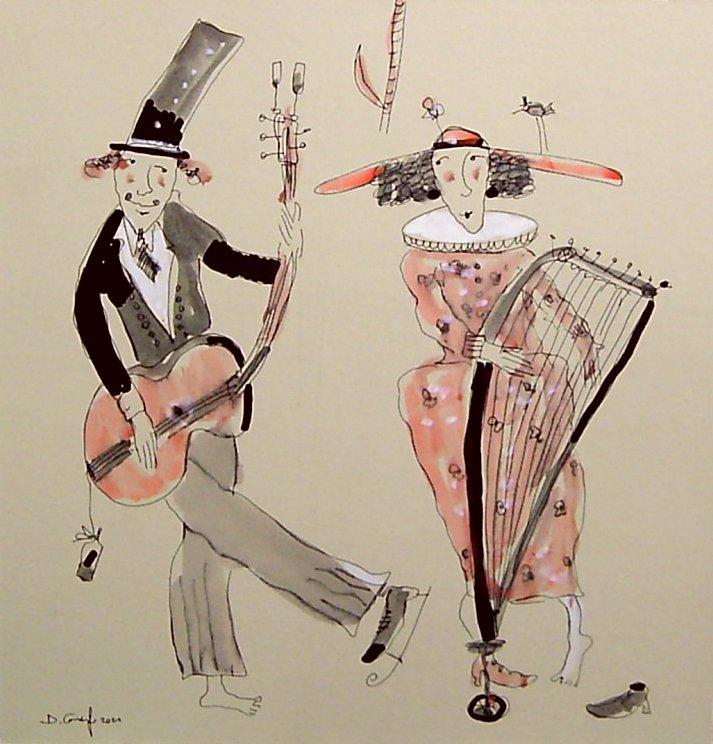Harfistka i gitarzysta